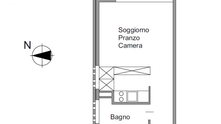 Bel monolocale luminoso in pieno centro - secondo piano