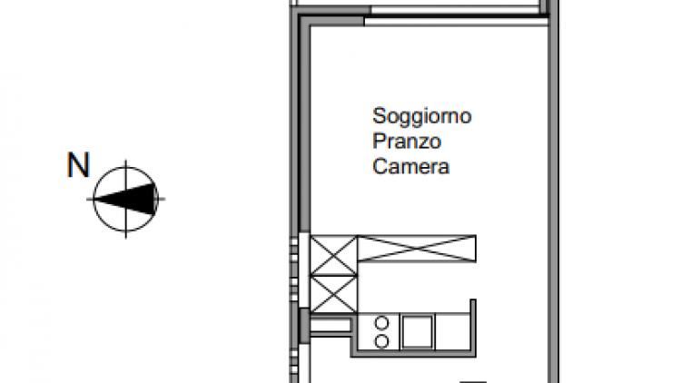 Monolocale luminoso e ristrutturato - al sesto piano con vista lago