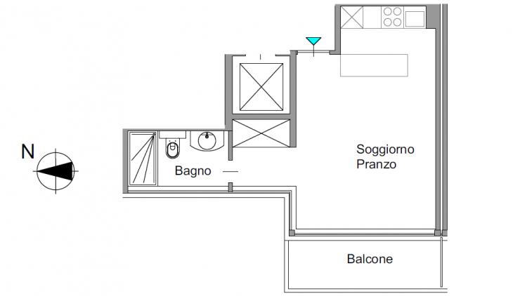 Monolocale luminoso ad angolo completamente rinnovato, in pieno centro - terzo piano